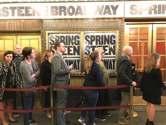 Fans on line Tuesday , Oct 3 for Springsteen on Broadway at the Walter Kerr Theatre .