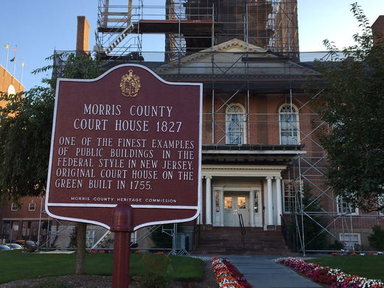 The front of the historic Morris County courthouse in Morristown. The front will be locked and ornamental only once a new entryway is completed around January 2018 on the Court Street side of the structure.