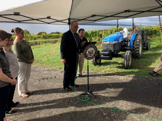 Senator Charles Schumer speaks at an announcement at Sawmill Creek Vineyards.