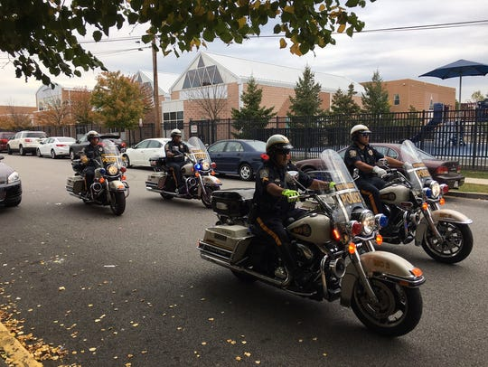 Perth Amboy police motorcycles on Wednesday lead the