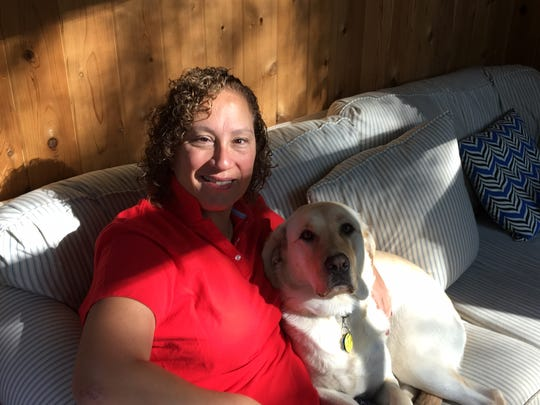 Republican 4th Ward Morristown Councilwoman Alison Deeb at home with a therapy dog, Fenton, who goes on visits with her to veterans homes.