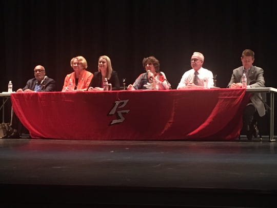 The six candidates for the Palm Springs City Council sat for a forum at Palm Springs High School on Friday, Oct. 20, 2017.