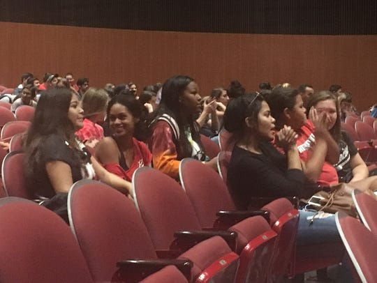 Students at Palm Springs High School listen to City
