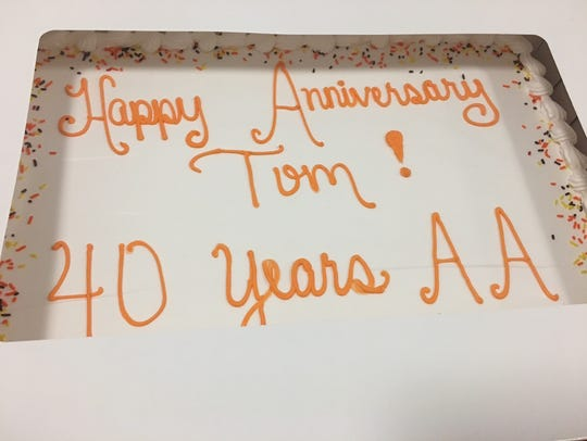 Cake celebrating Tom O'Leary's 40 years of sobriety.