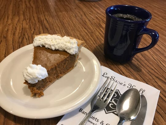 A slice of pumpkin pie from La Sure's Cakes and Catering