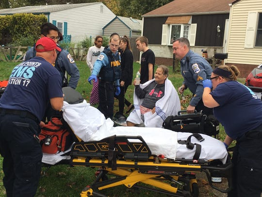 Two people were transported to the hospital Sunday