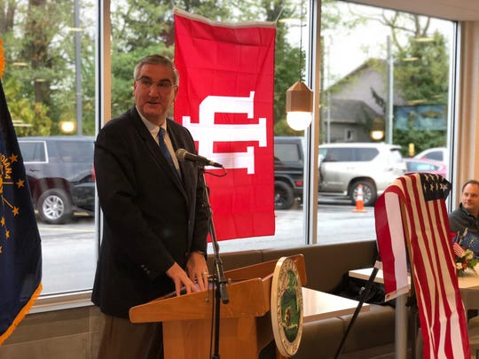 Indiana Gov. Eric Holcomb delivers the keynote speech at the grand reopening of the McDonald's on Broad Ripple Avenue.