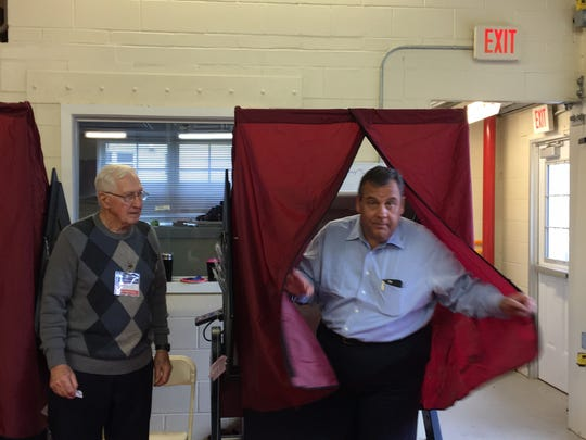 Gov. Chris Christie votes at Brookside Engine Co. in Mendham Township on Tuesday.