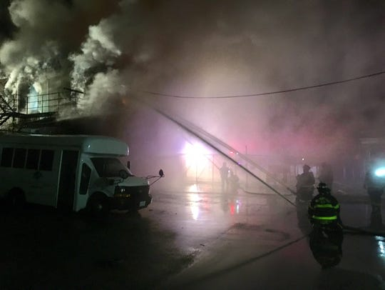 Firefighters are on the scene of a fire in the 400