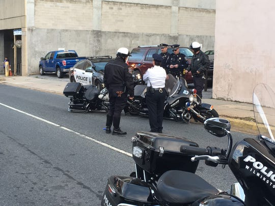 Several lanes of 12th Street, near downtown Wilmington, were closed after two city police motorcycles crashed.