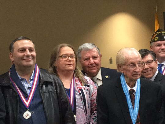 The Morris County freeholders and state legislators honored veterans on Nov. 8, 2017. From left, veteran Yucel Yilmaz, veteran Loretta T. Falconer, state Sen. Tony Bucco, R-25, veteran Joseph Bonanno, state Assemblyman Anthony Bucco, R-25, and veteran David G. Boone.