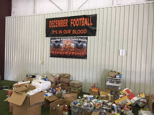 Donations were stacked up in the Refugio High School