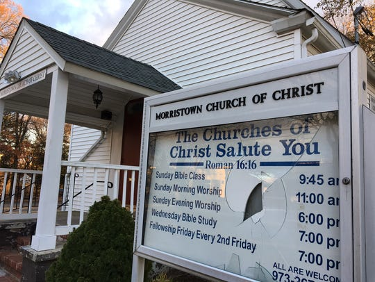 Vandals broke the sign outside Morristown Church of