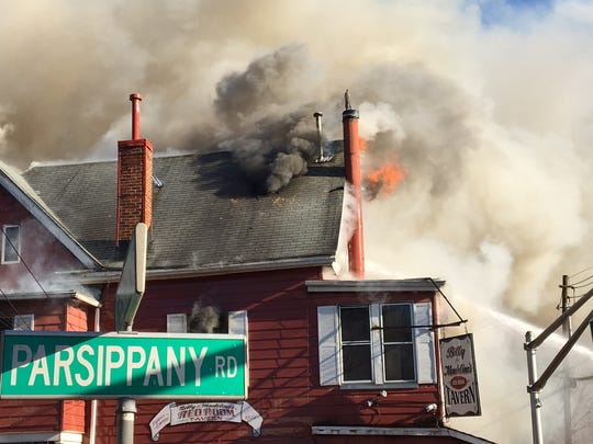 Fire consumes Billy & Madeline's Red Room Tavern in Hanover Township on Nov. 27, 2017.