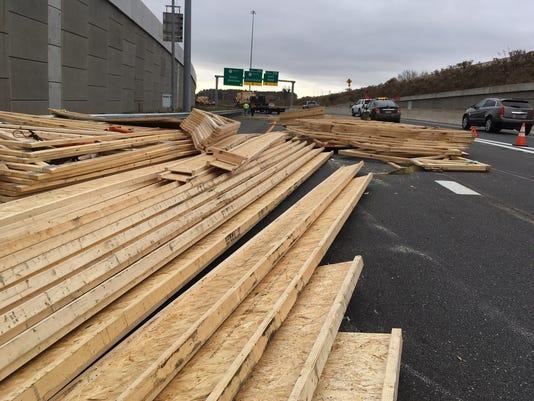 Lumber in road