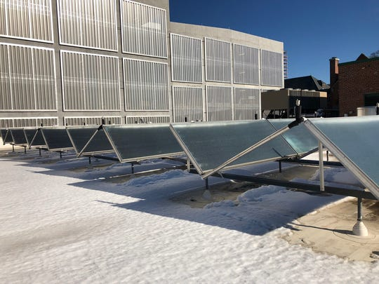 Solar panels on the roof of the Health and Human Services building are helping Buncombe County reach its recently adopted goal of 100 percent renewable energy within 25 years.