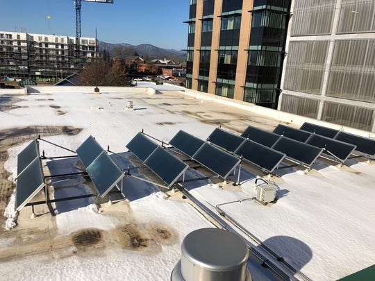 Buncombe County installed solar panels on the roof of the Health and Human Services as part of its goal to reaching 100 percent renewable energy in the county.