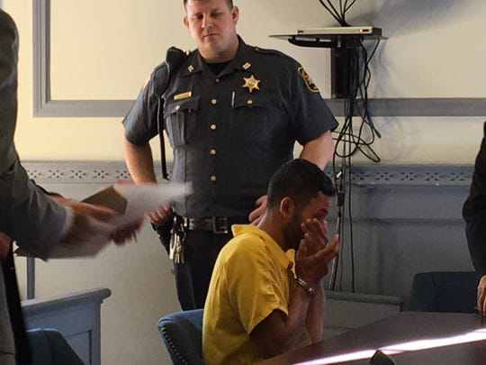 Santos Archaga-Mendoza in Superior Court, Morristown, in September 2017 after being charged with drunken driving and causing the deaths of his two brothers.