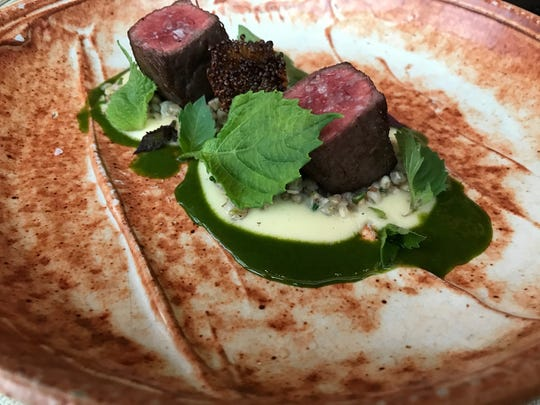 Roasted Wagyu Ribeye with Buckwheat and Shiso in a Wild Herb Sauce at Elements