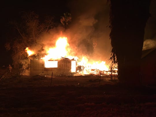 Firefighters responded to a house fire near Avenue 184 and Road 96 in Tulare Friday night.