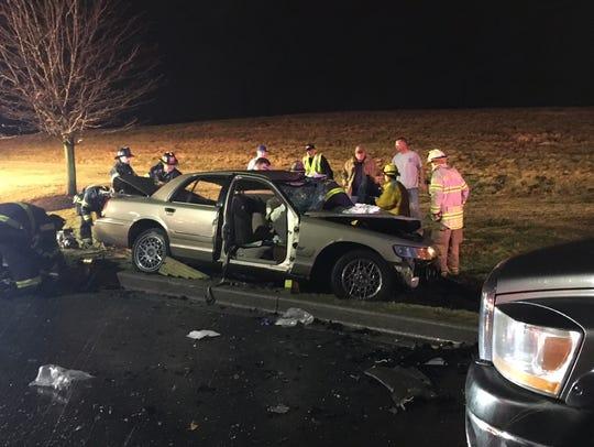 Delaware State Police investigate a fatal crash on Delaware Park Boulevard near Churchmans Road (Del. 4) in Stanton on Saturday, Dec. 23, 2017.