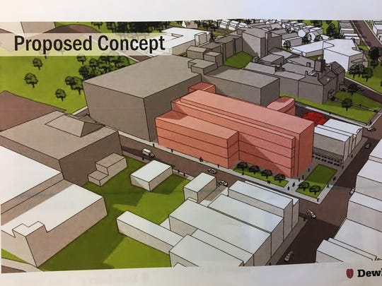 Pink colored rendering is of proposed $63 million criminal courthouse that would be built off Schuyler Place in Morristown, adjacent and connected to the existing Administration and Records building.