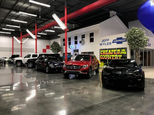 The Wyler FastLane vehicle fleet at Jeff Wyler Automotive Family headquarters in Millford.