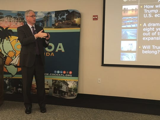 UCF economist Sean Snaith speaks at the City of Cocoa's annual economic update on Friday.