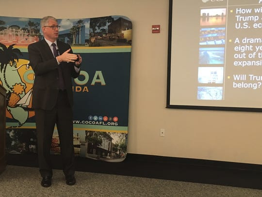 UCF economist Sean Snaith speaks at the City of Cocoa's annual economic update last Friday.