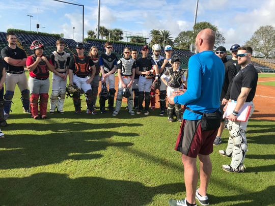 Kirk Gibson took some time out to talk to some of the campers at Dodgertown.