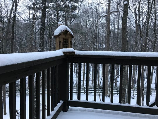 About 3 inches of snow has fallen in Candler.