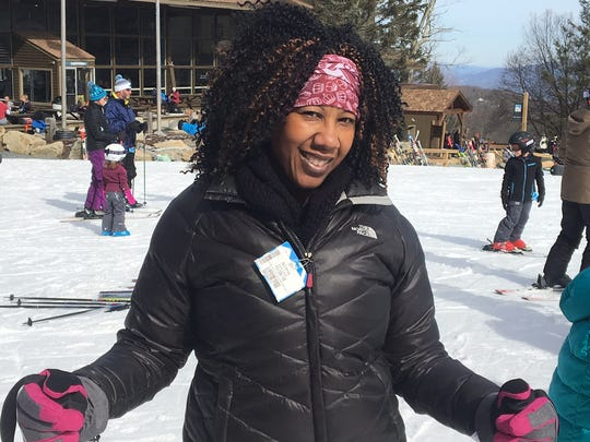 Jewel Mack, of Charlotte, went skiing for the first time Jan. 26 at Beech Mountain Ski Resort.