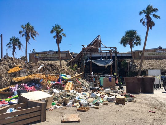 The parking lot of Moby Dick's Restaurant is covered in a thick mat of debris and vegetation in September.