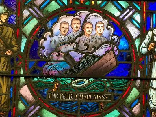 A portion of the stained glass window at the East Rutherford