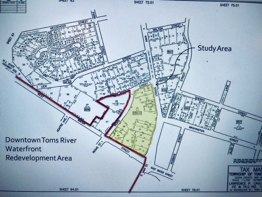 Map of downtown Toms River Waterfront redevelopment area.