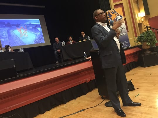 Former Cincinnati Mayor Mark Mallory speaks to the audience at the West End Community Council meeting Tuesday, Feb. 13, about the benefits of an FC Cincinnati soccer stadium in the neighborhood.