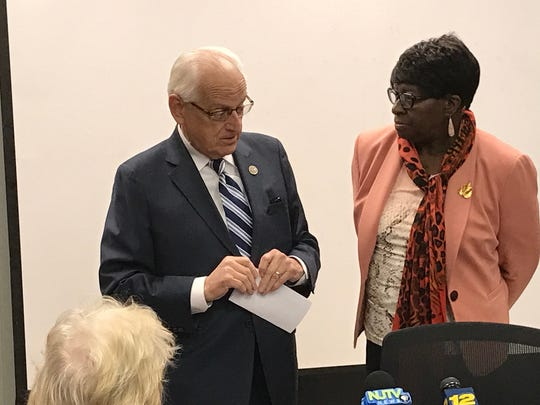 Rep. Bill Pascrell Jr. with Irma Gorham, executive director of the Paterson Housing Authority, at the opening of the food pantry for veterans on Monday.