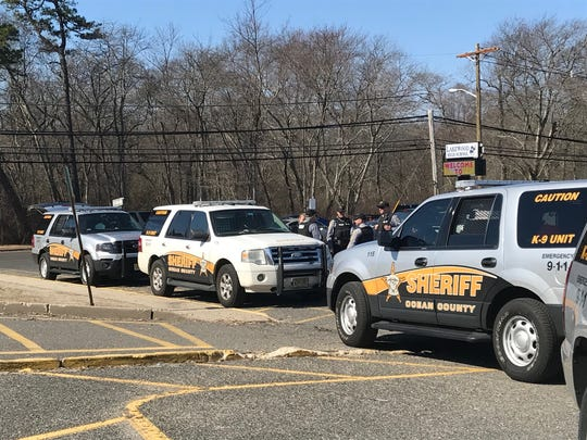 Ocean County sheriff's deputies on scene at Lakewood High School, 855 Somerset Ave., where a student threat prompted a lockdown on Tuesday, Feb. 27, 2018.