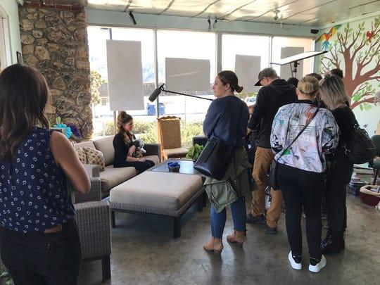 Katherine Schwarzenegger is interviewed in the lobby