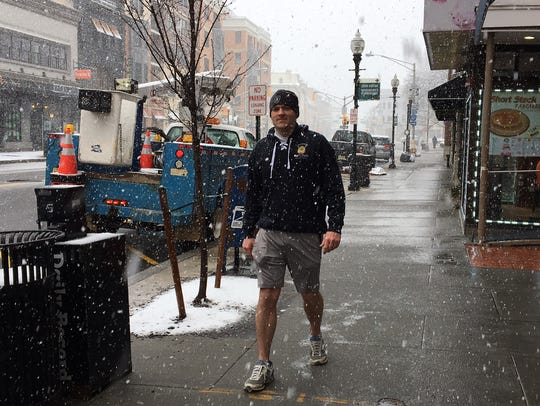 Mike Doyle saunters down South Street in Morristown
