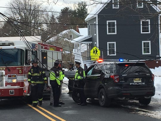 Morristown police and firefighters on James Street