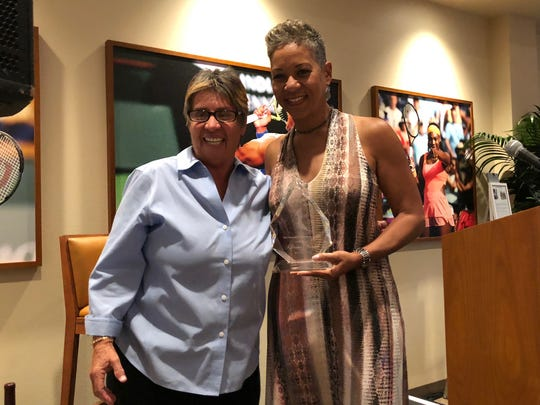 From left, tennis hall of famer Rosie Casals and USTA Chairman, CEO, and President Katrina Adams - recipient of the Annalee Thurston Award for leadership - during the Annalee Thurston Award Reception at the Indian Wells Tennis Garden on Sunday, March 11, 2018.