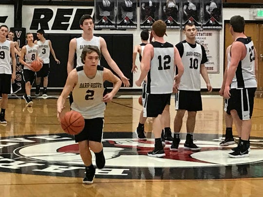 Isaac Wagler dribbles during a recent Barr-Reeve practice.