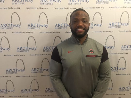 Maurice Clarett poses at an event for the ARCHway Institute during which he spoke about his journey to recovery last Friday at the Glendale Woman's Club.