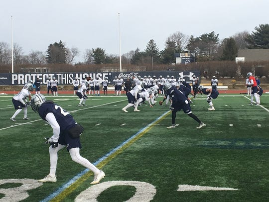 The Monmouth football team took the field on Tuesday as part of spring practice at Kessler Stadium in West Long Branch.