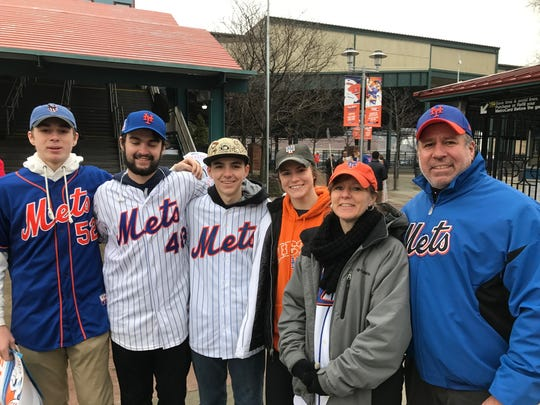 The Glass family from Bloomingdale attend Mets Opening Day every year. L to R, Aiden, Liam, Christian, Chloe, Sharon, and Bill