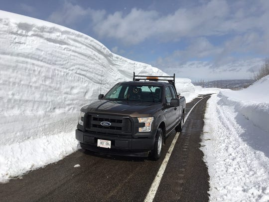Snow height was 11 feet March 19 on this stretch of U.S. Highway 89 between Cut Bank Creek and St. Mary.