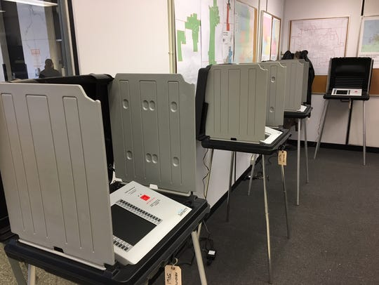 Absentee voting machines in the election room in the