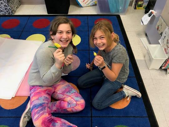 Seraphina Chizever and Maddie Bezahler enjoy creating