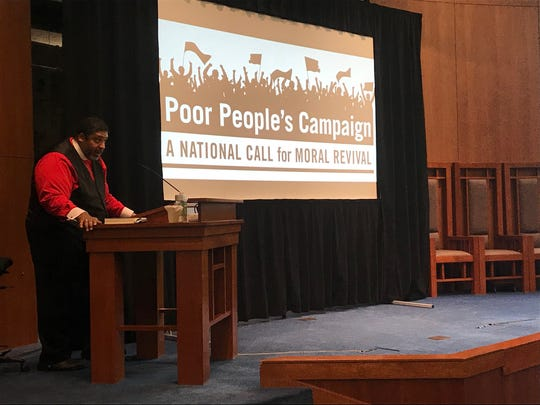 The Rev. William J. Barber II speaks during Friday afternoon's public theology and activism course, which was held at The Temple. Barber is the president of Repairers of the Breach, which is the nonprofit that put on the event.  The event was hosted by local faith groups and put on by the Repairers of the Breach nonprofit.